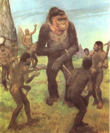Сцена охоты первобытных людей вида Человек Прямоходящий (Homo еrectus) на гигантопитека (Gigantopithecus blacki)