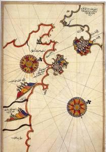 Историческая карта пролива Гибралтар, составленная Пири Рейсом