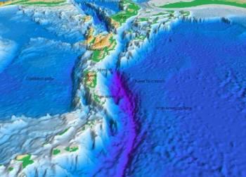 Перспективное изображение морского дна Атлантического океана и Карибск