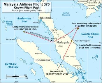 Маршрут Boeing 777, установленный на основании сведений от военных рад