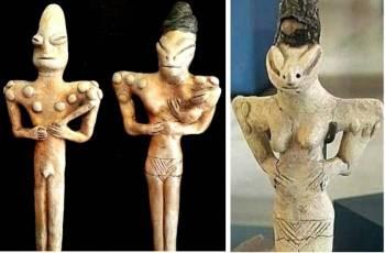 людьми-ящерицами. фигурки мужчин и женщин