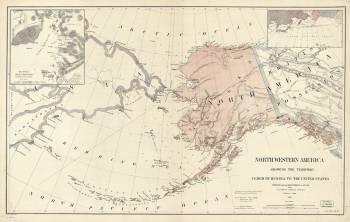 Карта территорий Северо-Западной Америки в 1867 году