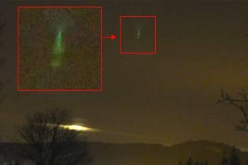 Во Франции зафиксирован НЛО с необычным зеленым сиянием