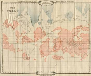 Карта Лемурии на фоне современных континентов