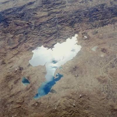 Вид на озеро Ван с космического корабля Challenger.
