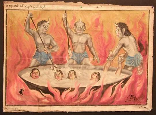 В горячих нараках грешников варят в котлах, прямо как в христианском
