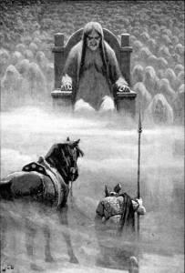 Посланник Одина Хермод перед богиней Хель. Иллюстрация Джон Доллмана
