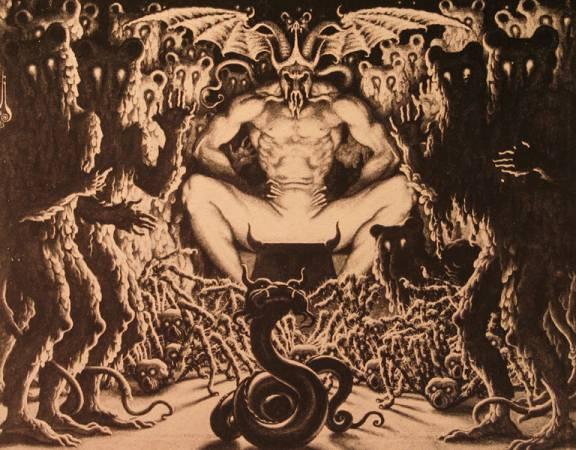 Сатана, восседающий на троне преисподней